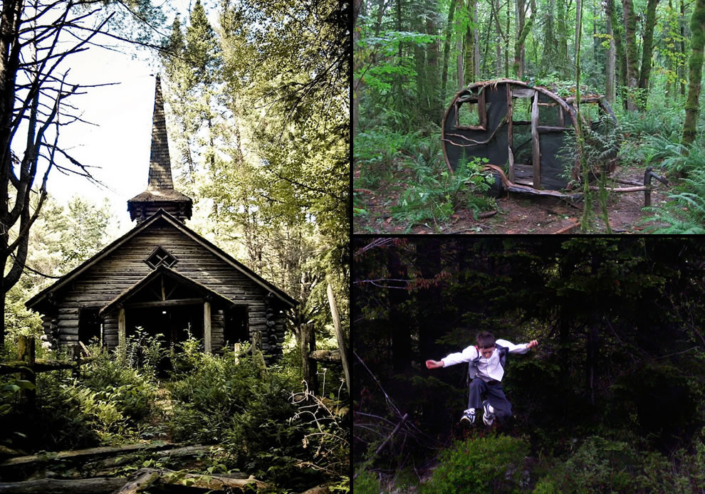 Sinister abandoned chapel in the woods, deep in the Adirondack Mountains, ghost trailer, kid running scared from the woods