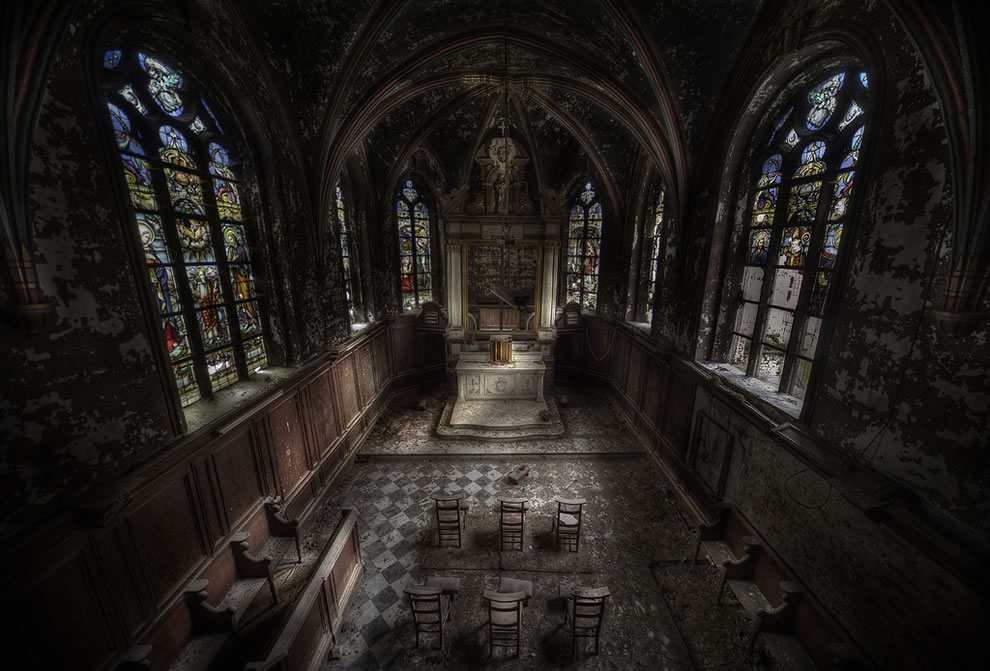 This large abandoned church had some very nice chairs left inside and even a coffin for a baby