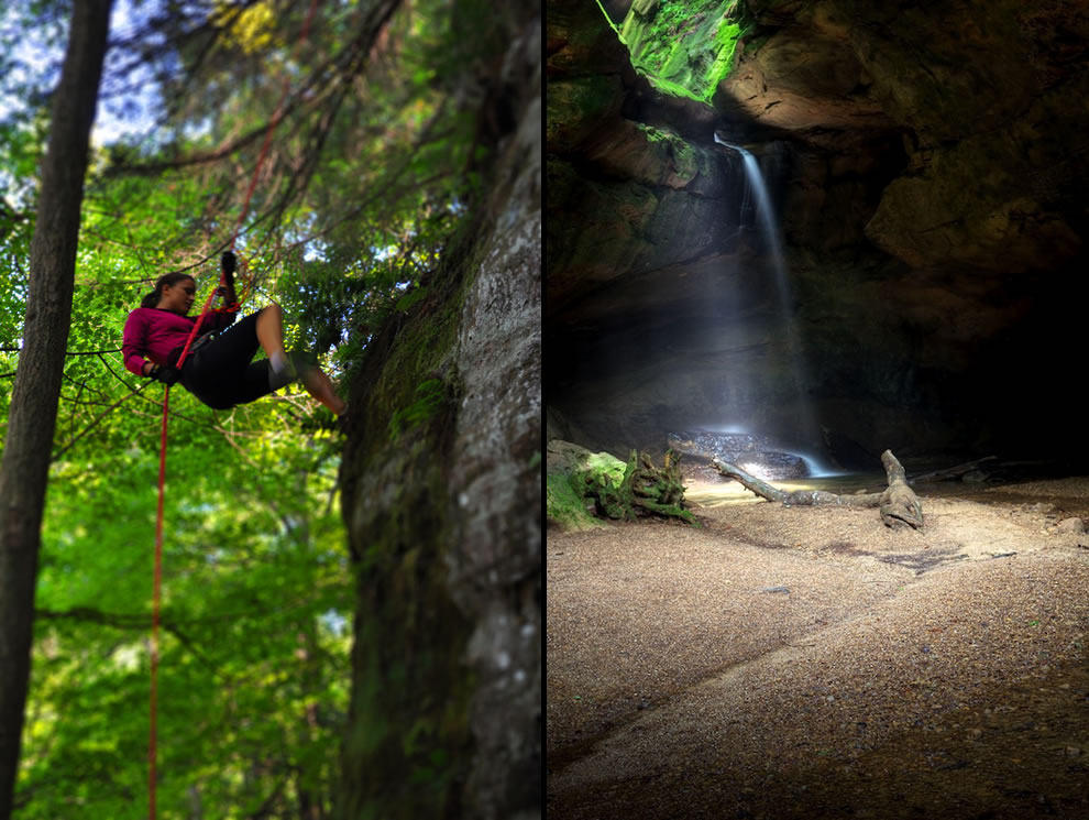 Tilt-shift of rappelling near Hocking Hills & Conkle's Hollow State Nature Preserve