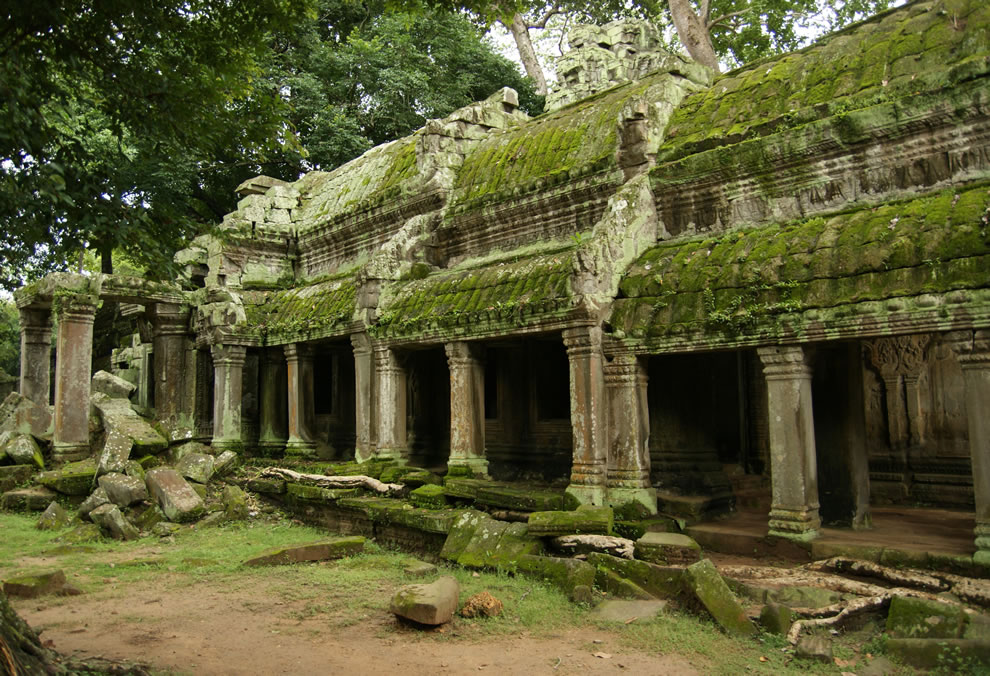 Finely carved reliefs and corridors from the ruins of the Buddhist temple of Angkor