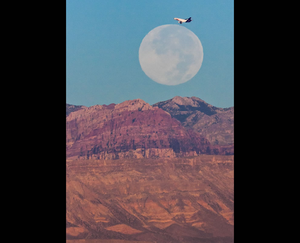 Harvest Moon over Spring Mountains in Henderson, Nevada