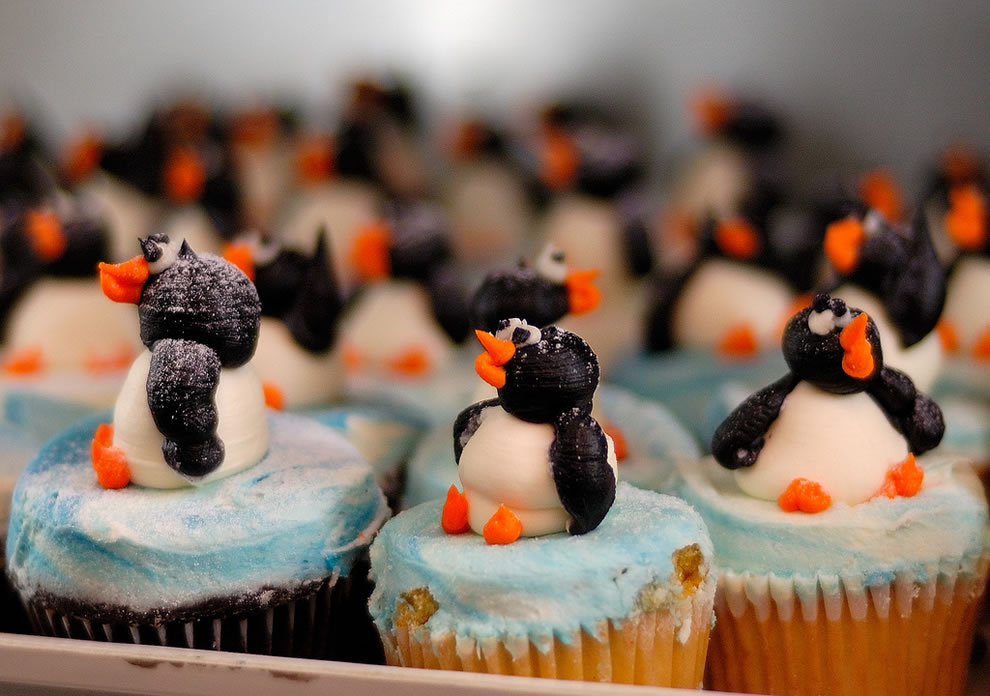 Linux penguin cupcakes singing