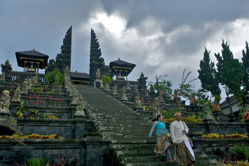 Mother temple or Pura Besakih on the slopes of a Volcanic mountain is the largest and Holiest temple of Bali