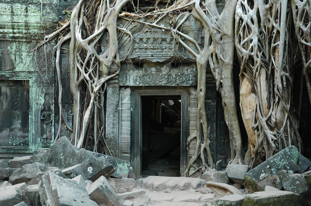 The famous empty doorway of Ta Prohm