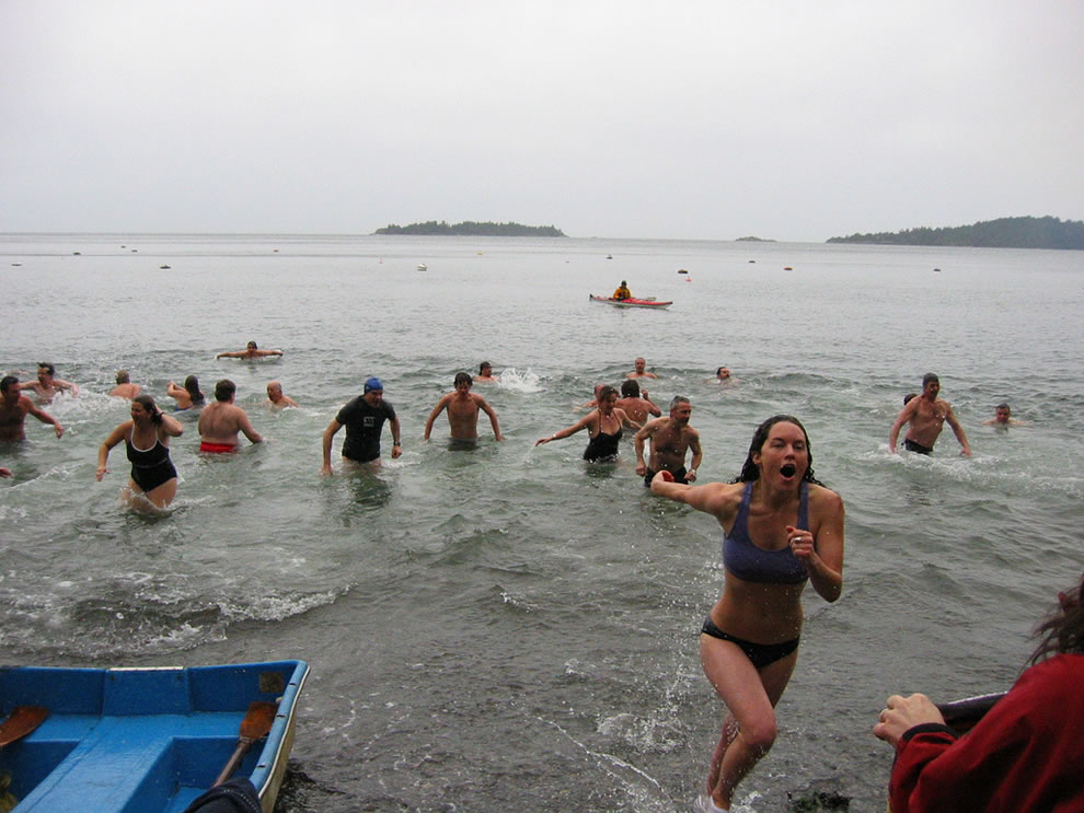Bowen Bay Polar Bear Swim in British Columbia, Canada