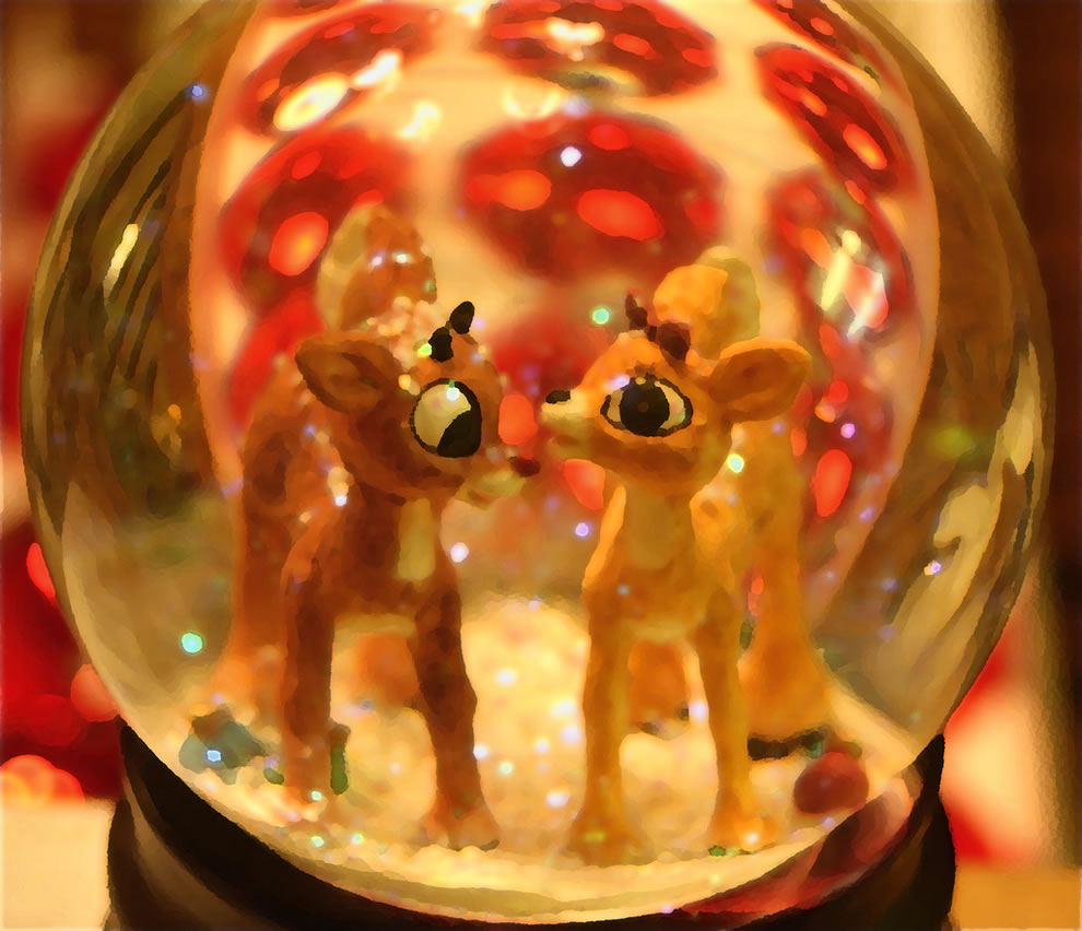 Clarice and Rudolph the Red Nosed Reindeer snow globe