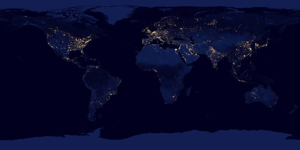 Composite map of the world assembled from data acquired by the Suomi NPP satellite in April and October 2012