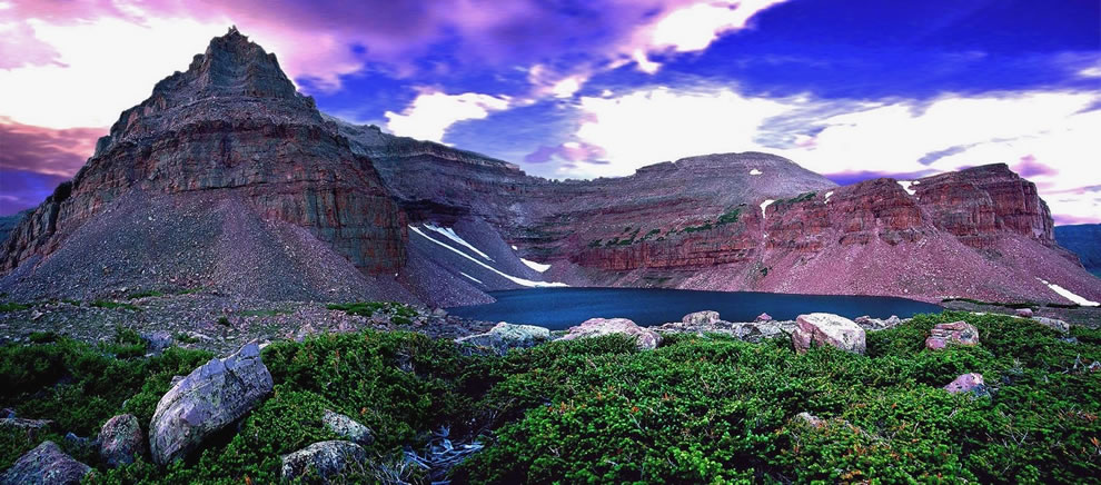 Deepest crater lake in the Uintas Mountains of Utah