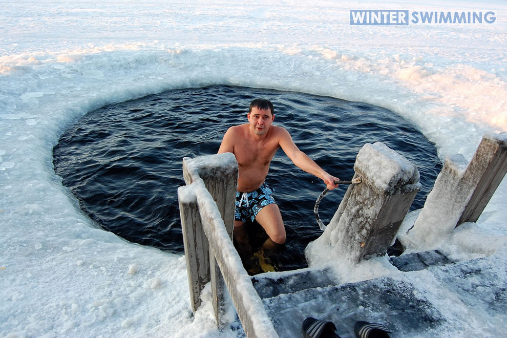 Polar Bear Plunge, winter swimming in Russia