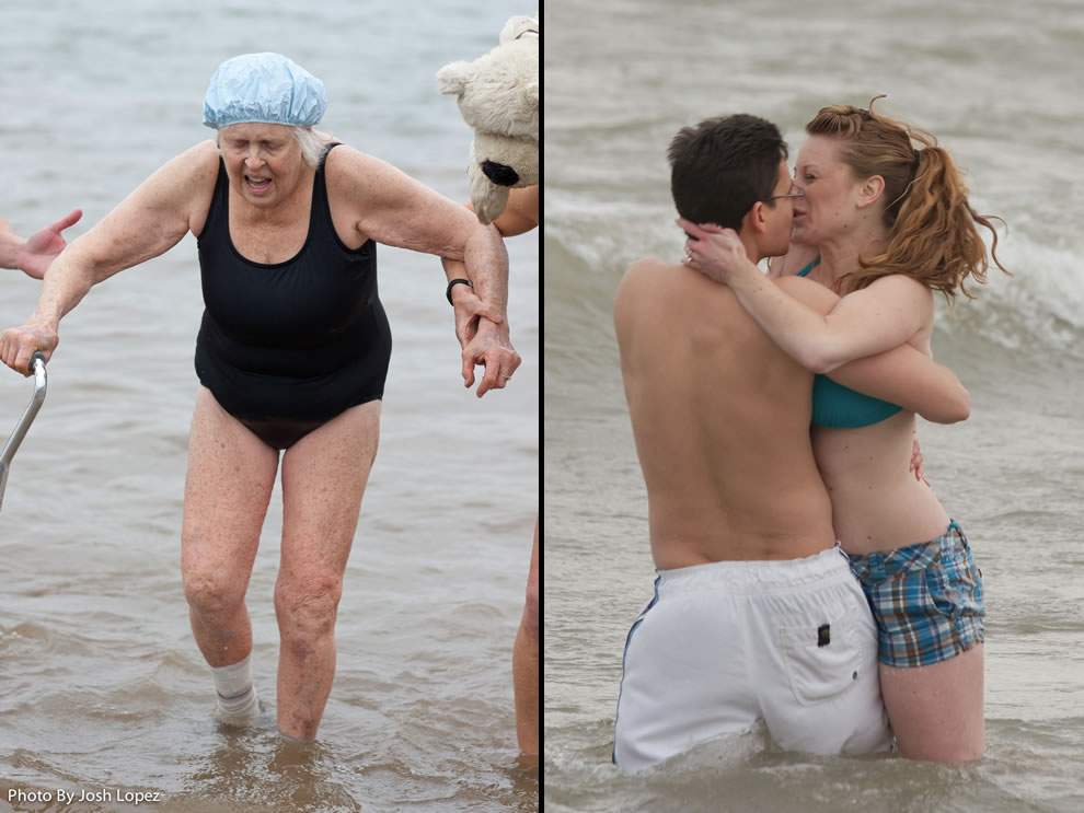 Grandma and couple kissing at different New Year's Day polar bear plunge events