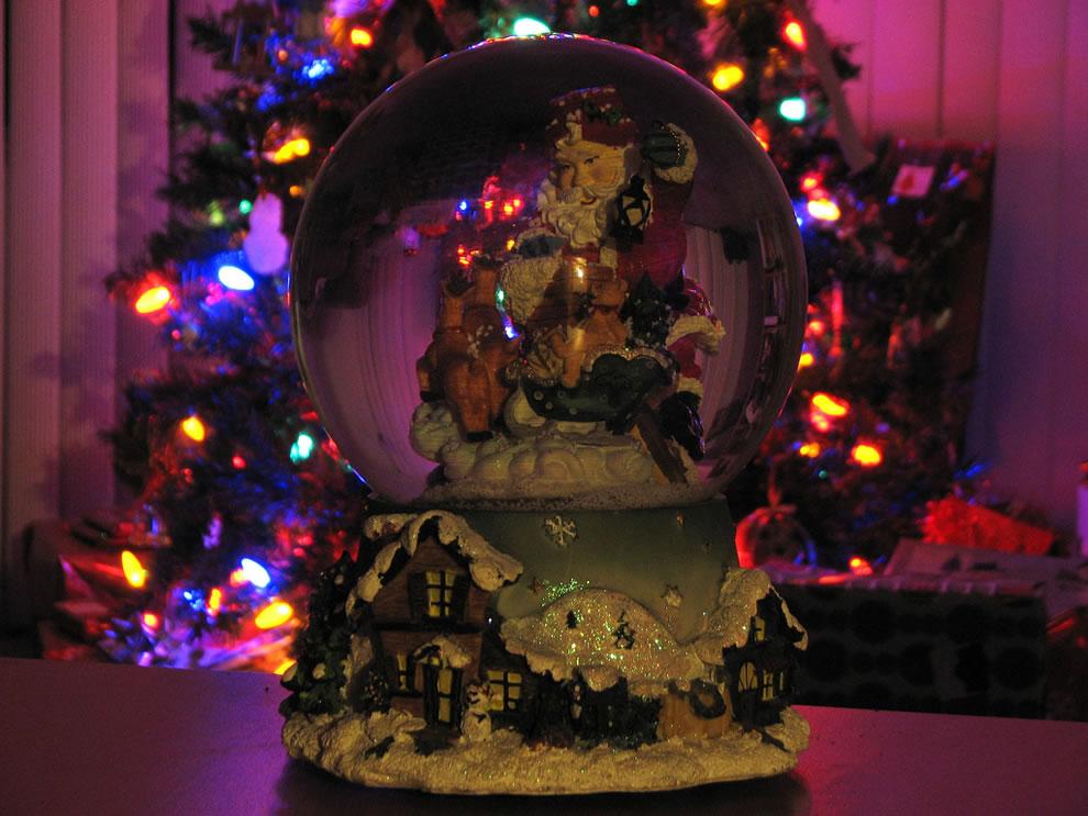 Holiday Christmas lights and Santa snow globe