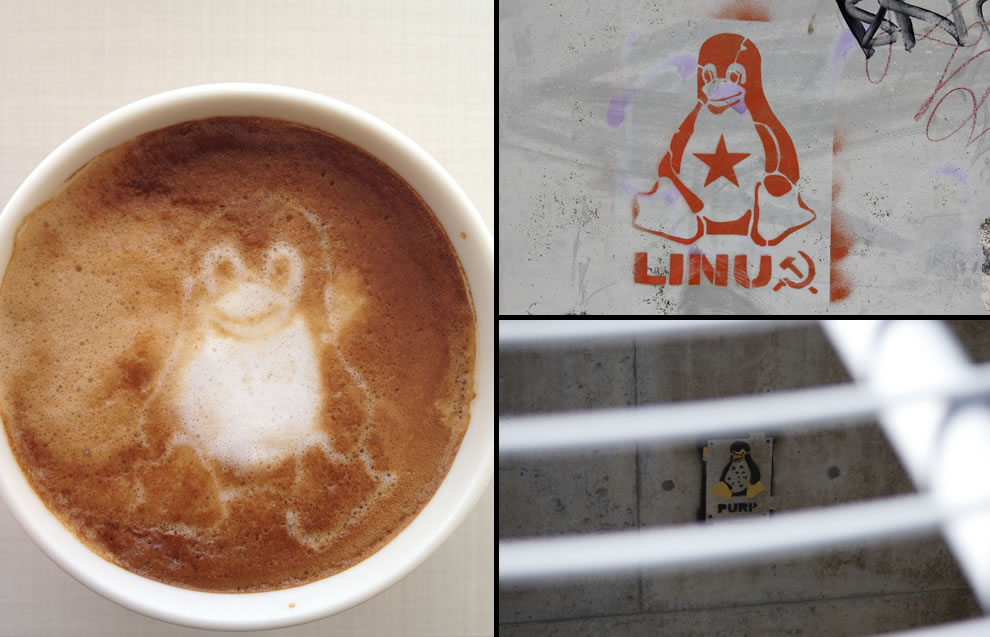 Linux and tux inspired food art and tux graffiti