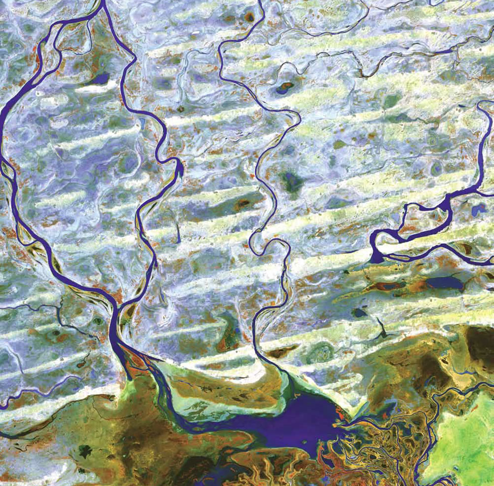 Niger River and smaller rivers and streams flow northward out of Lake Debo in landlocked Mali in Western Africa