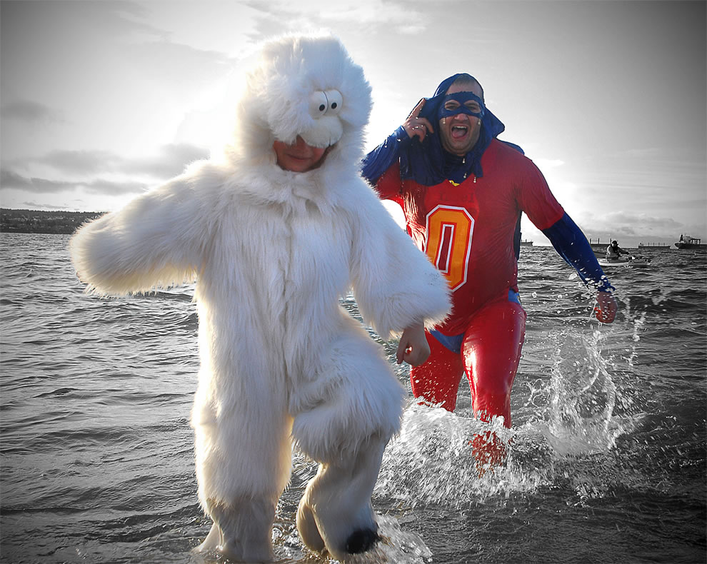 Polar Bear and Super Dad at Annual Vancouver Polar Bear Swim