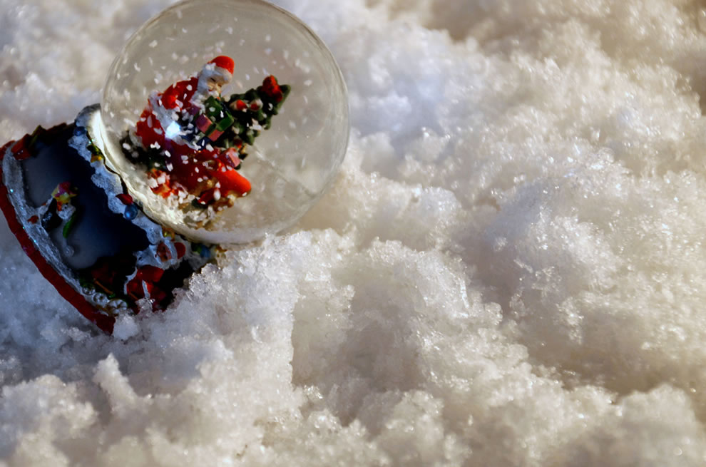 Saint Nick in a snow globe, in the snow