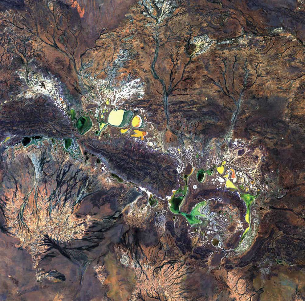 Salt-encrusted seasonal lakes of Western Australia's Shoemaker impact structure