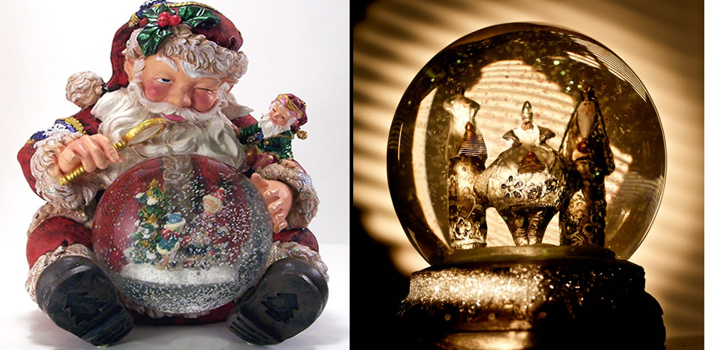 Santa checking naughty or nice with snowglobe & 3 Kings of Orient Are bearing gifts