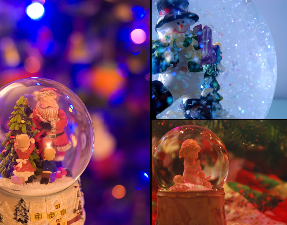 Santa snow globe, Frosty snow globe, Little girl praying snow globe under Christmas tree