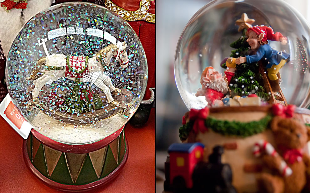Sparkly and cute Christmas snow globes