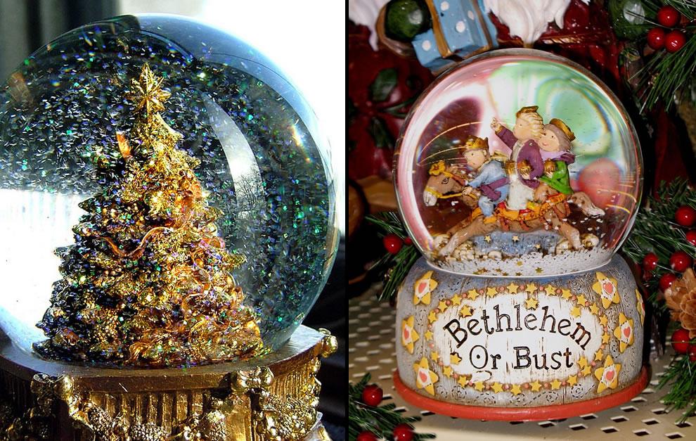 Sparkly shiny distracting snow globe and We Three Kings snow globe