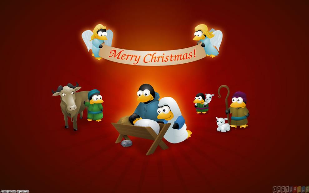 Tux Nativity Merry Christmas