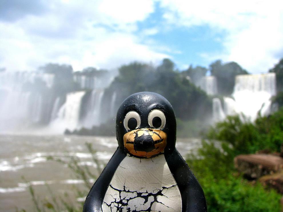 Tux in Iguazú waterfall