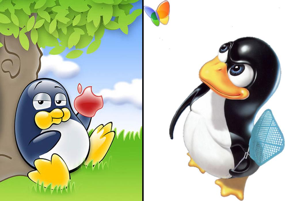 Tux vs Apple and Microsoft