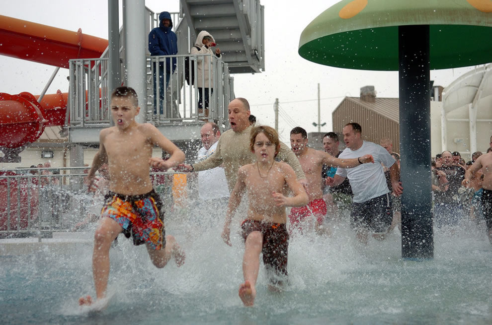 US military polar bear swim at Camp Humphreys South Korea