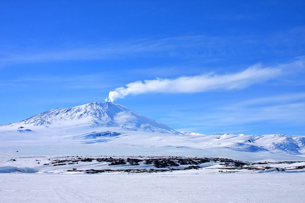 #6 is Ross Island, Antarctica, with Mt. Erebus seen here with a plume