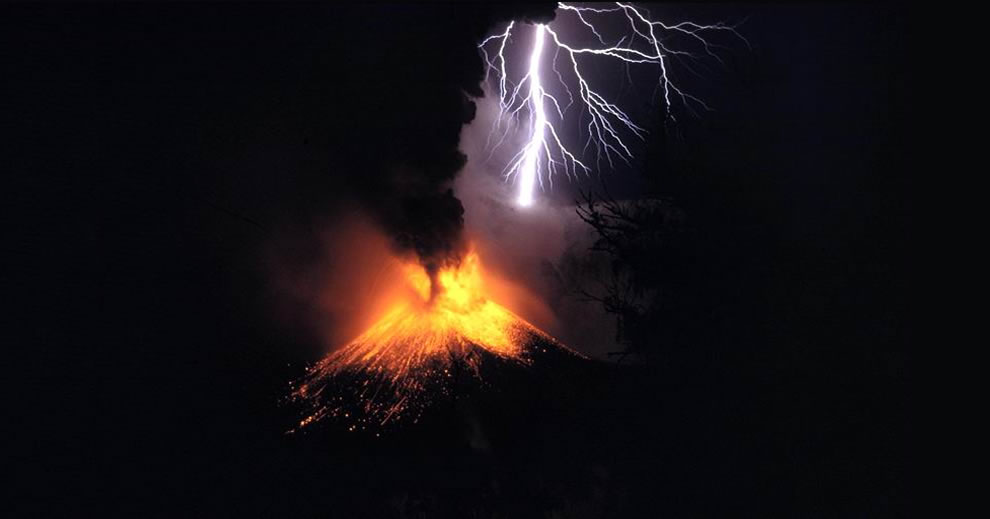 A small eruption of #9 Mount Rinjani, with volcanic lightning on island of Lombok, Indonesia