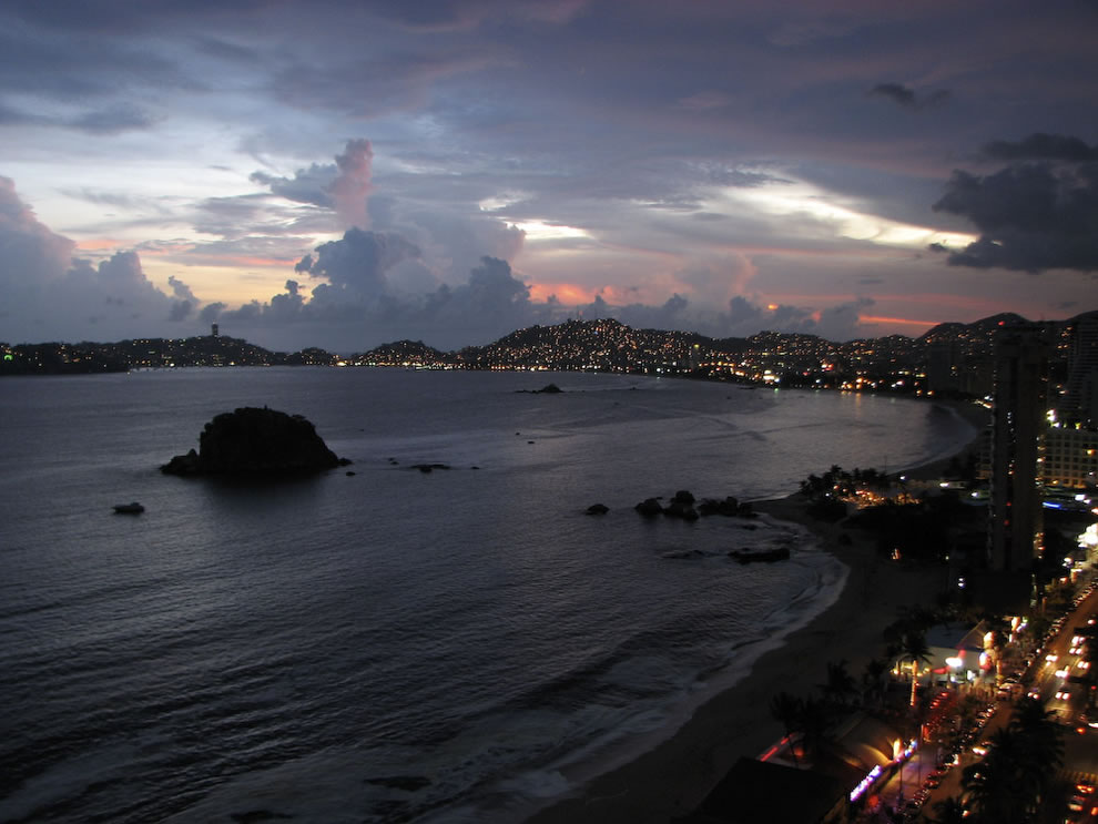 Acapulco Bay view at sunset from the hotel