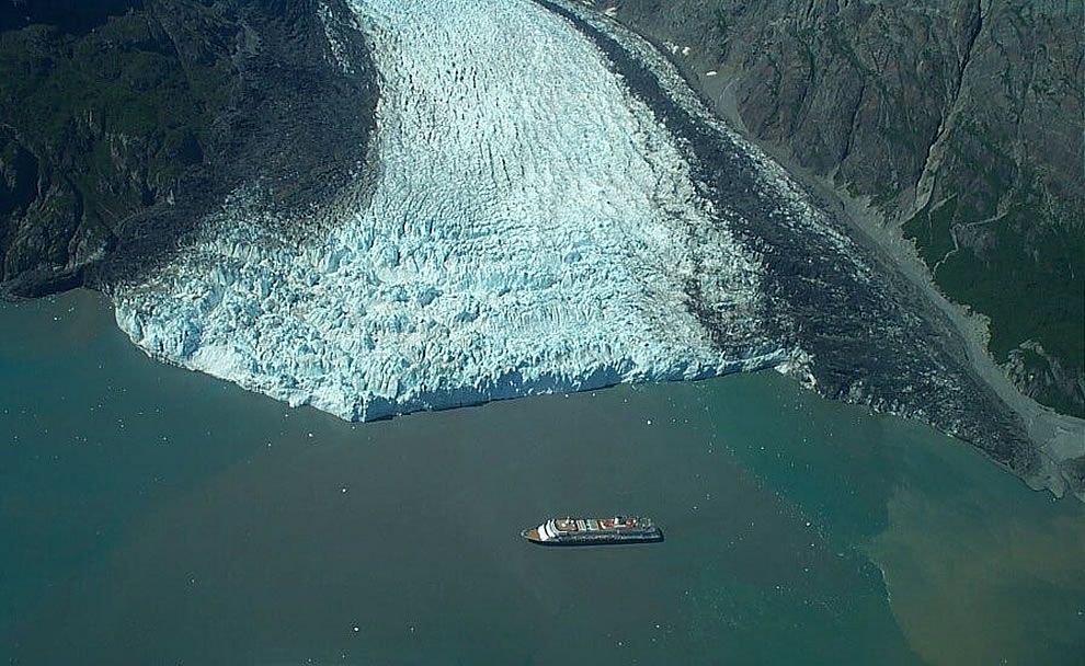 Aerial view of cruise ship at Margerie Glacier