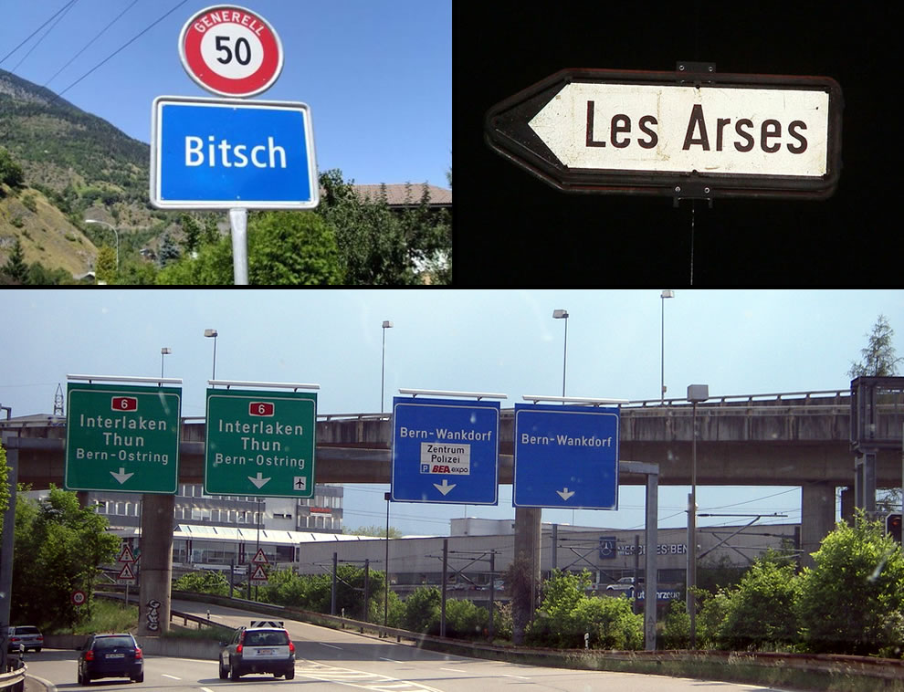 Bitsch, Les Arses and Wankdorf in Switzerland