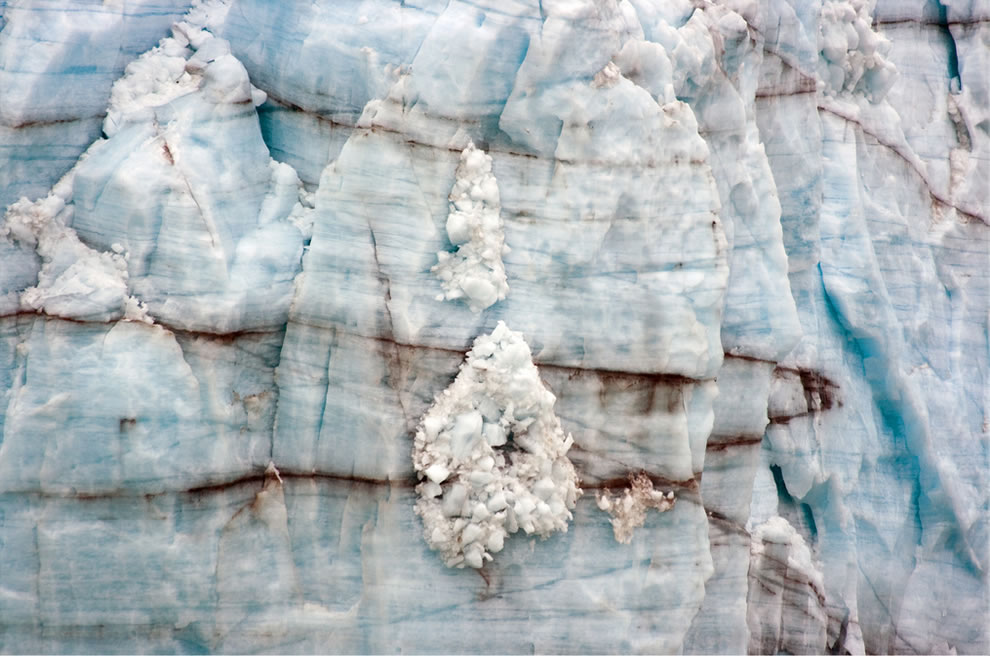 Close-up of a distinctive ice formation on the face of the Margerie Glacier in Glacier Bay National Park, Alaska