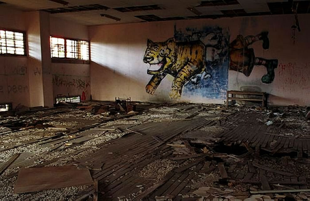 Graffiti inside Gunkanjima, abandoned island from Skyfall 007 movie