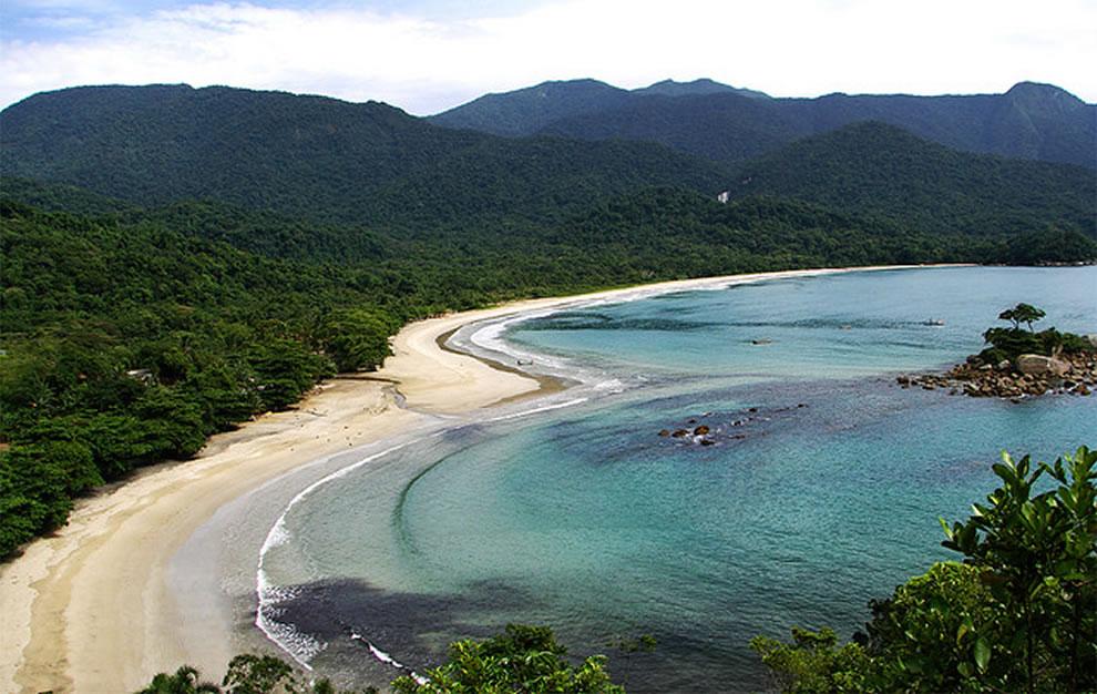 Heart-shaped Castelhanos Beach, Ilhabela, Brazil