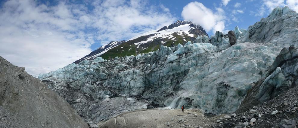 Hiker and glacier