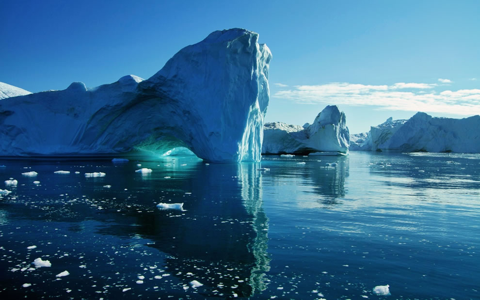 Icebergs and sea ice, looks tranquil and quiet, but bergs are both unpredictable and loud