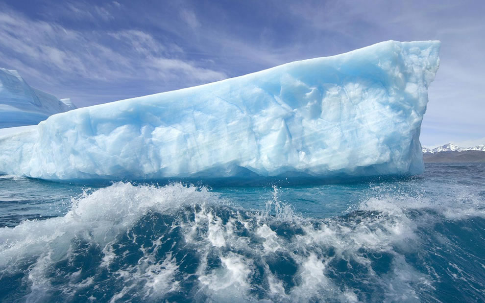 Incredibly beautiful icebergs and waves in gorgeous Greenland