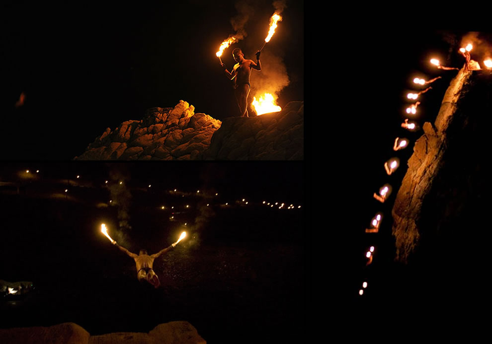 La Quebrada Cliff, Acapulco, night diving with torches in hand