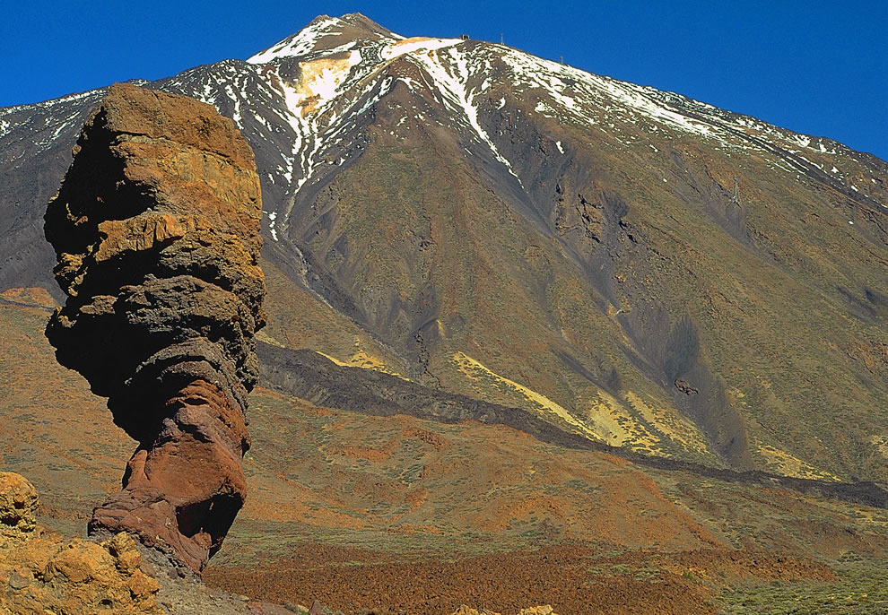 Mount Teide, the volcano a volcano on Tenerife in the Canary Islands comes in at #10 for highest points on islands