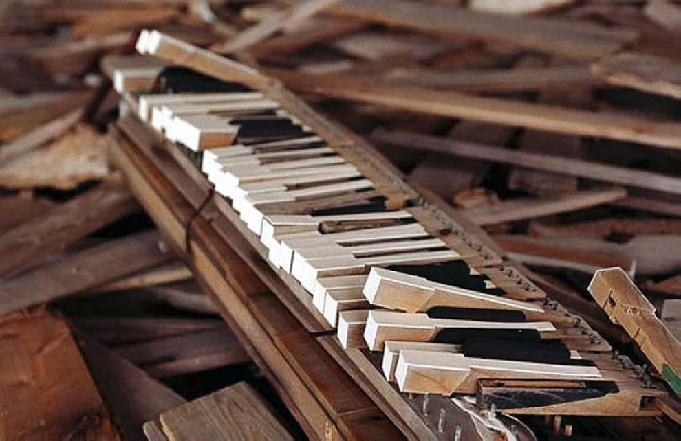 Piano wreckage at Hashima