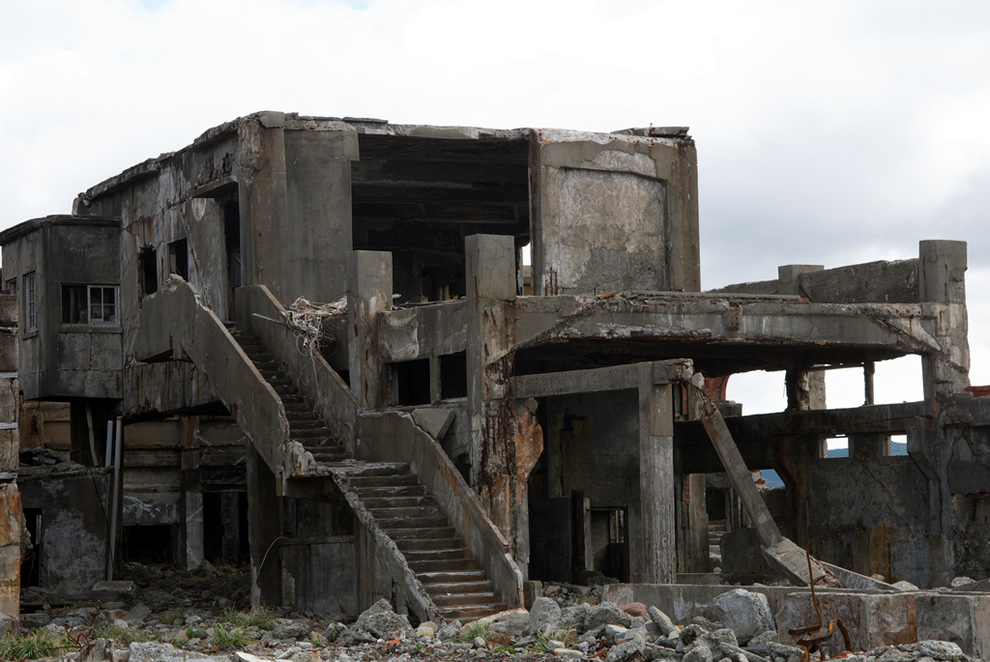 Hashima Island Ruined Building, mocked in Skyfall for villain Raoul Silva crumbling micro-city