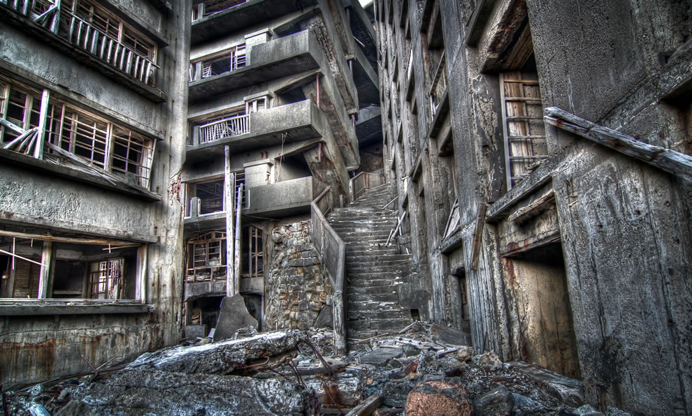 Stairway To Hell, Gunkanjima, James Bond Skyfall villain hacking headquarters