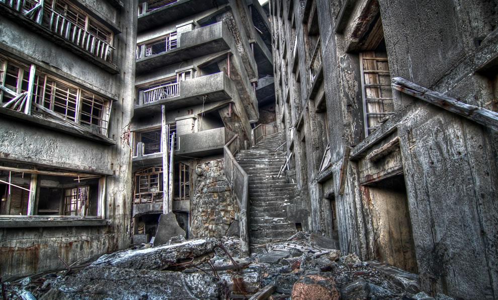 Stairway To Hell, Gunkanjima, James Bond Skyfall villain hacking headquarters