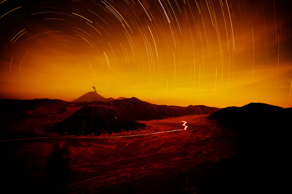 Star trails at #12 highest point on an island- Semeru volcano, or Mount Semeru, 12,060 ft (3,676 m) on the island of Java, Indonesia