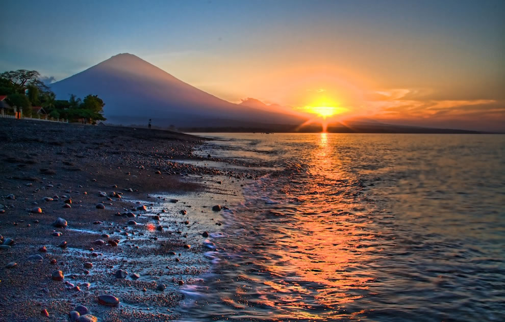 Sunset with Mount Agung in Amed, Bali. Indonesia, the 19th highest point on islands worldwide