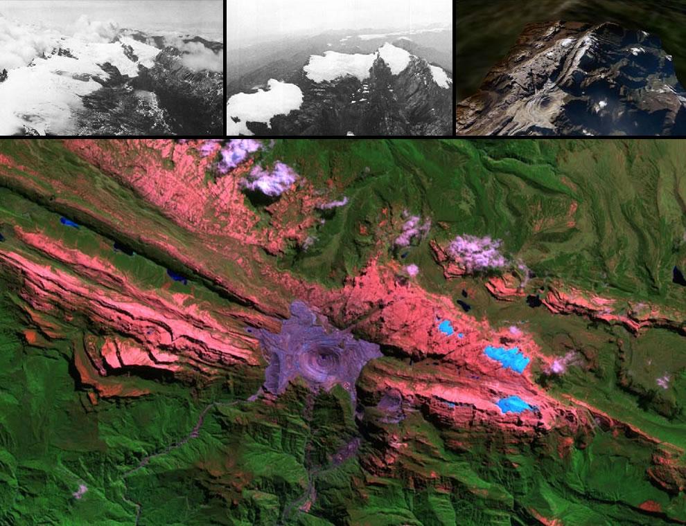 The incredible shrinking glacier Puncak Jaya Glacier, Puncak Jaya, one of the 7 Summits, open pit Freeport copper and mine, 3 glaciers on slopes of Puncak Jaya