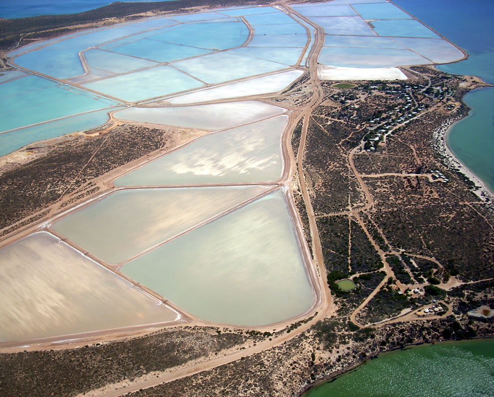 Useless Loop, Australia, Aerial view of the town's site with salt crystallisation ponds