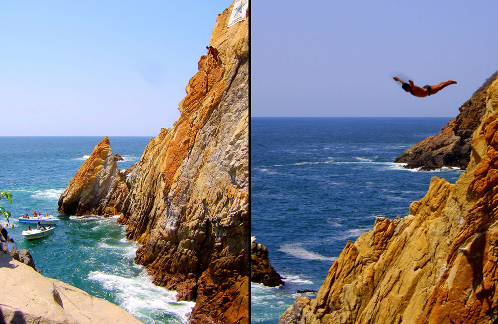 You almost feel like you could fly without the plane...La Quebrada Cliff Divers at Acapulco, Mexico